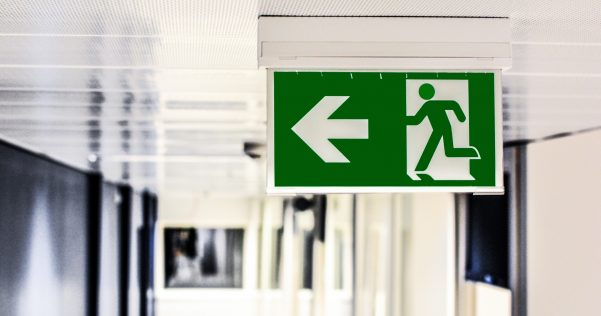 Close-up of a fire exit sign
